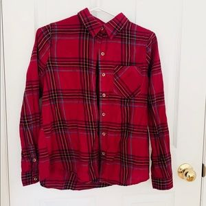 Red Plaid Button Down Long Sleeve Top